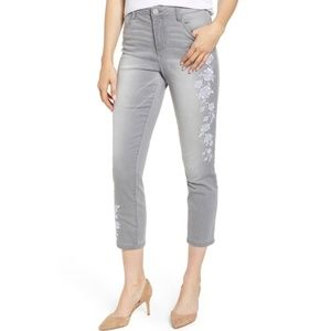 Wit & Wisdom Gray Floral Embroidered Skinny Jeans